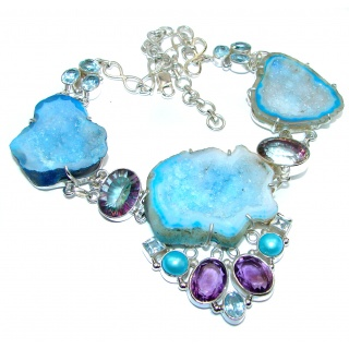 Huge Genuine Blue Agate Druzy .925 Sterling Silver handmade necklace