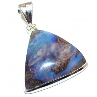 Pure Perfection Authentic Australian Boulder Opal .925 Sterling Silver handmade Pendant