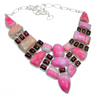 Huge Bohemian Style Genuine Pink Agate Garnet .925 Sterling Silver handmade necklace