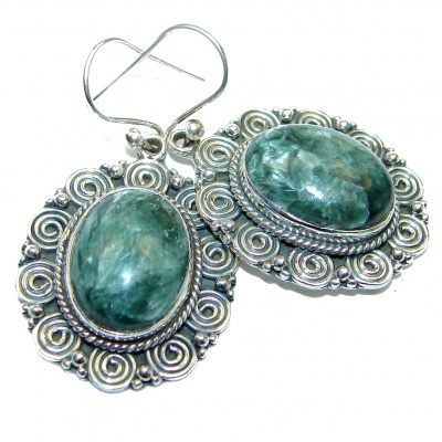 Perfect Green Seraphinite .925 Sterling Silver handcrafted earrings