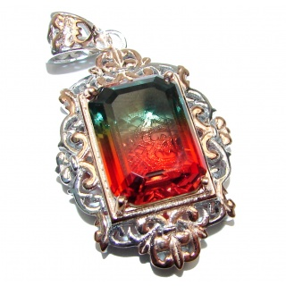 Deluxe Emerald cut Tourmaline Topaz 18K Gold over .925 Sterling Silver handmade Pendant