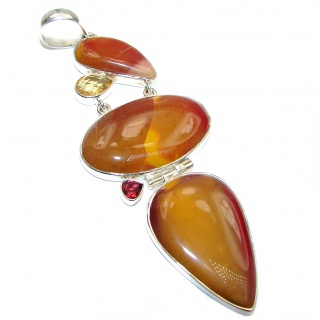 Large Beautiful genuine Australian Bracciated Mookaite .925 Sterling Silver handcrafted Pendant