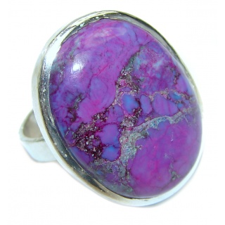 Huge Purple Turquoise .925 Sterling Silver handcrafted ring; s. 9 3/4