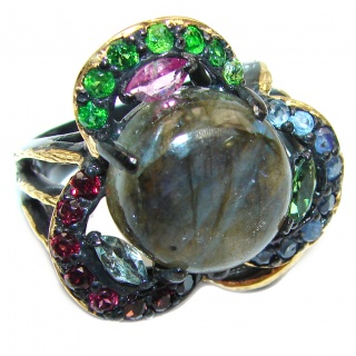 Large Fire Labradorite Gold black rhodium over .925 Sterling Silver handmade ring size 9