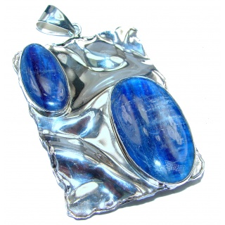 Large Beautiful genuine Kyanite hammered .925 Sterling Silver handcrafted Pendant