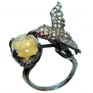 Hummingbird Cubic Zirconia black rhodium over .925 Sterling Silver handmade Ring size 8