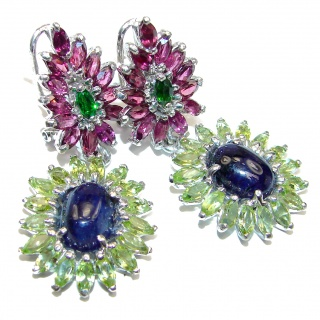 Stunning Authentic Sapphire Garnet .925 Sterling Silver handcrafted stud earrings