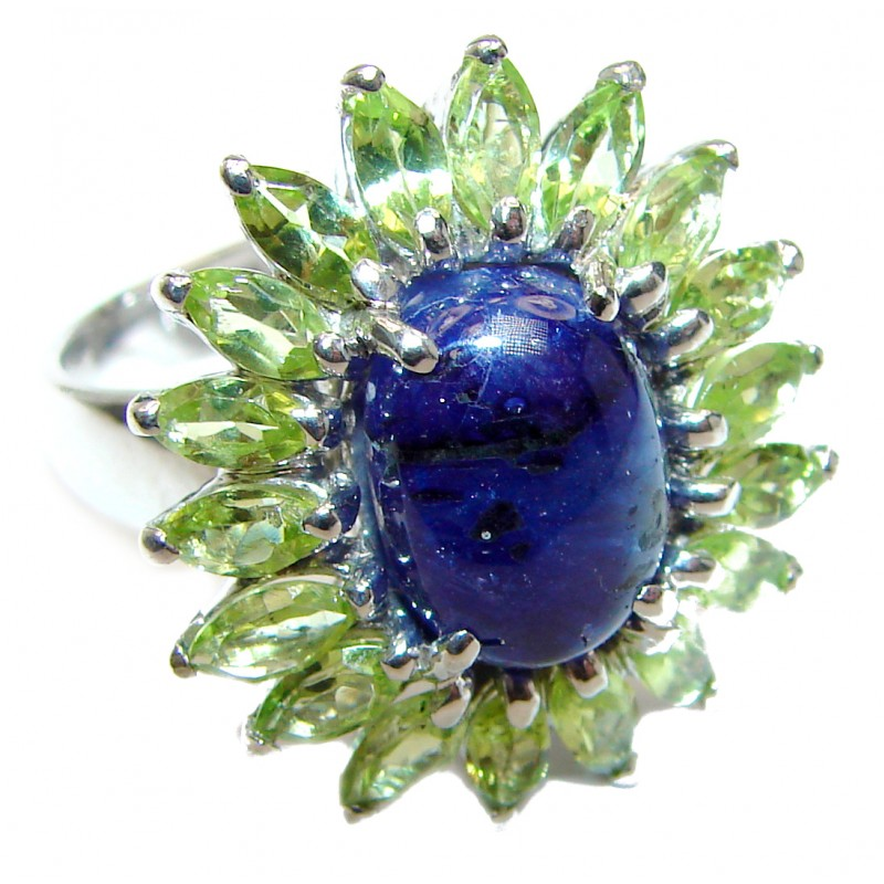Genuine Sapphire Peridot .925 Sterling Silver handmade Cocktail Ring s. 8 1/4
