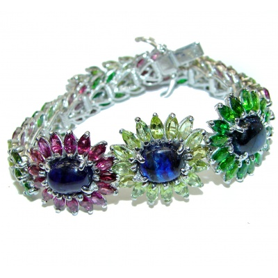 Authentic Sapphire Chrome Diopside .925 Sterling Silver handcrafted Bracelet