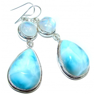Large Blue Larimar Fire Moonstone .925 Sterling Silver handcrafted earrings