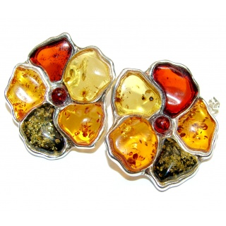 Masterpiece Genuine carved Flowers Baltic Amber 18K Gold over .925 Sterling Silver Earrings