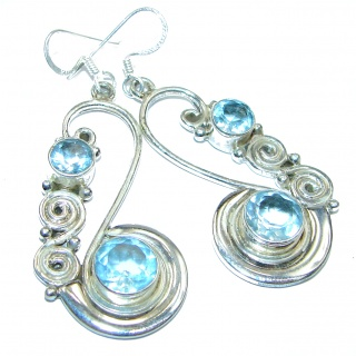Authentic Swiss Blue Topaz .925 Sterling Silver handmade earrings