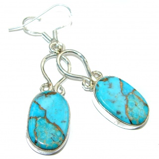Large Solid Copper vains in Blue Turquoise .925 Sterling Silver earrings