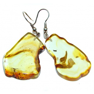 Eternity Bohemian style Authentic Baltic Amber .925 Sterling Silver handmade LARGE Earrings