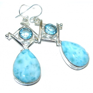 Large Blue Larimar Swiss Blue Topaz .925 Sterling Silver handcrafted earrings