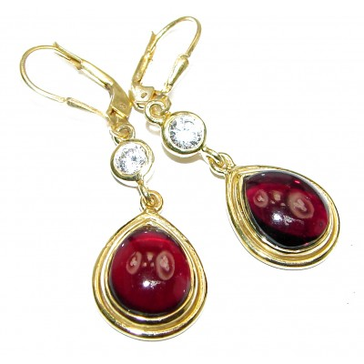 Authentic Garnet Rose 14K Gold Rhodium over .925 Sterling Silver handmade earrings
