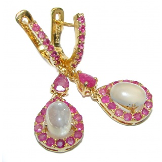 Genuine Rainbow Moonstone Ruby Gold over .925 Sterling Silver handcrafted Earrings