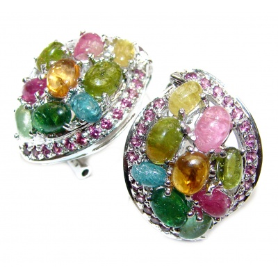 Authentic Watermelon Tourmaline .925 Sterling Silver handmade earrings
