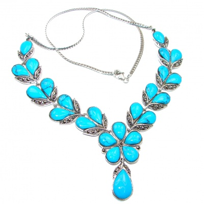Posh large Turquoise Marcasite .925 Sterling Silver handcrafted necklace