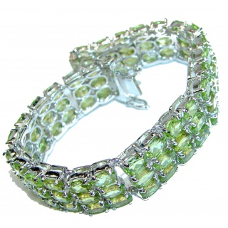 Chunky Flawless Peridot .925 Sterling Silver handcrafted Bracelet