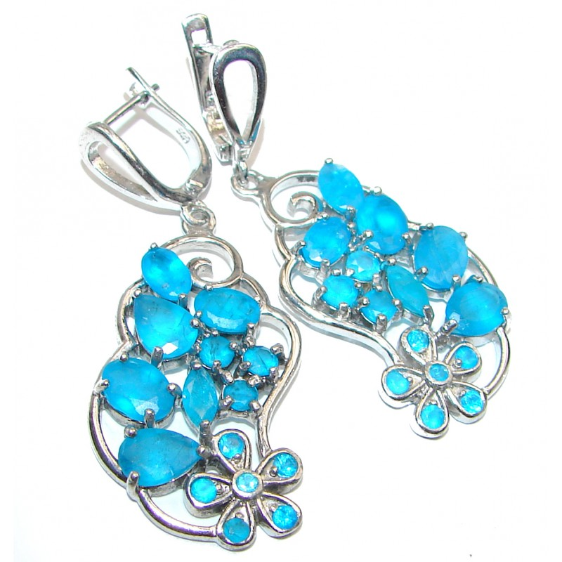 Rich Design authentic Apatite .925 Sterling Silver handcrafted earrings