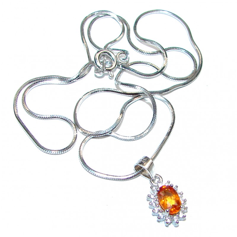 Oval cut Orange Sapphire .925 Sterling Silver handcrafted necklace