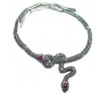 Two Serpent Snakes genuine Ruby  Marcasite .925 Sterling Silver necklace