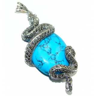 Large Snake Genuine Turquoise .925 Sterling Silver handcrafted Pendant