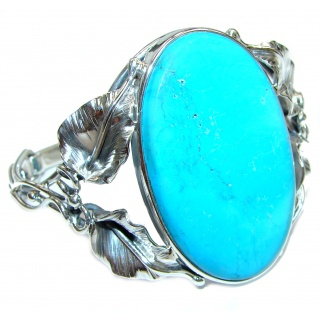 Huge Boho Chic Genuine Sleeping Beauty Turquoise .925 Sterling Silver handmade Bracelet / Cuff