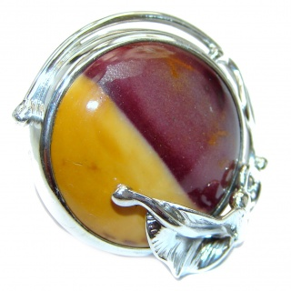 Huge Boho style Mookaite .925 Sterling Silver handmade ring size 7 adjustable