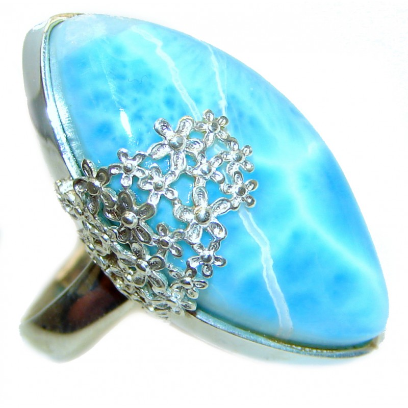 Vintage Design AAAAA QUALITY Natural Larimar .925 Sterling Silver handcrafted Ring s. 8