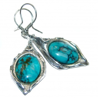 Huge Turquoise .925 Sterling Silver handmade earrings