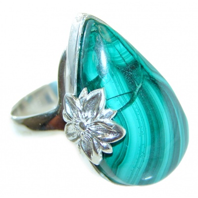 Natural Sublime quality Malachite .925 Sterling Silver handcrafted ring size 7
