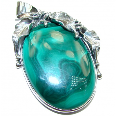LARGE Top Quality Malachite Oxidized .925 Sterling Silver handmade Pendant