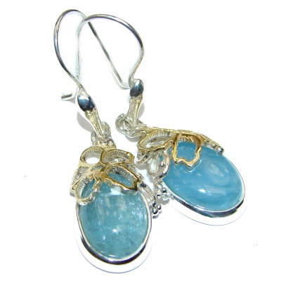 Classy genuine Aquamarine 18K Gold over .925 Sterling Silver handcrafted earrings