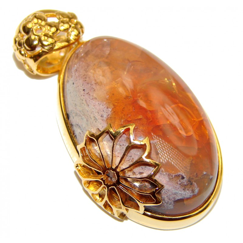 Unique Design Natural Mexican Fire Opal 18K Gold .925 Sterling Silver handmade Pendant