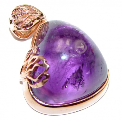 Purple Treasure Genuine Amethyst Rose Gold over .925 Sterling Silver handcrafted pendant