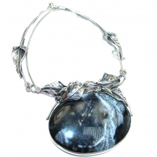 Oversized MasterPiece genuine Dendritic Agate .925 Sterling Silver handcrafted necklace