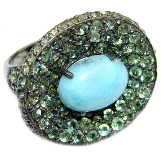 Simple Beauty Natural Larimar black rhodium .925 Sterling Silver handcrafted Large Ring s. 8 1/2