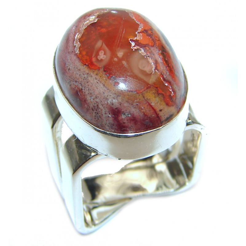 Orange Power Precious Mexican Opal .925 Sterling Silver handmade ring s. 5