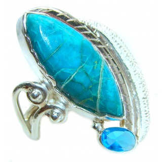 Stone Of Harmony Parrots Wing Chrysocolla .925 Sterling Silver ring s. 7