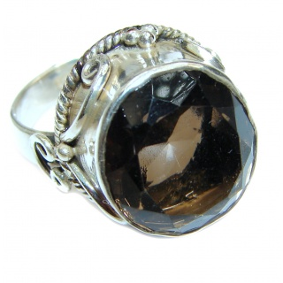 Huge Smoky Topaz .925 Sterling Silver handmade Ring size 8 1/4