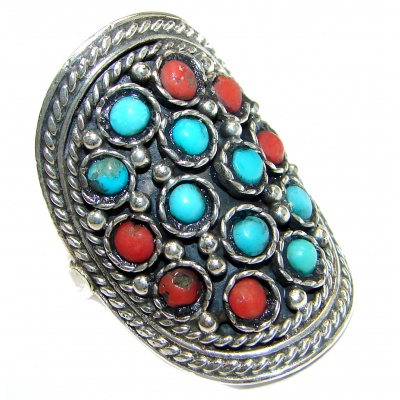 Natural Fossilized Coral Turquoise .925 Sterling Silver handmade ring s. 8 1/4