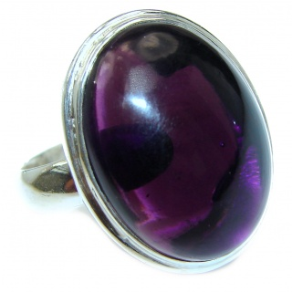 Large Spectacular genuine 68ctw Amethyst .925 Sterling Silver handcrafted Ring size 7 adjustable
