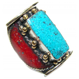 Huge Natural Fossilized Coral Turquoise .925 Sterling Silver handmade ring s. 9