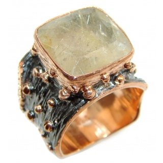 Golden Rutilated Quartz 14K Gold over .925 Sterling Silver handcrafted Ring Size 7 1/4