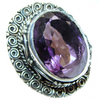 Large Victorian Style genuine Amethyst .925 Sterling Silver handcrafted Ring size 5 3/4
