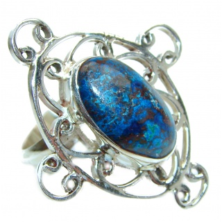 Huge Azurite stone .925 Sterling Silver ring; s. 8