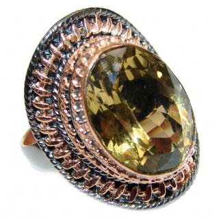 Vintage Style Citrine black rhodium over .925 Sterling Silver handmade Cocktail Ring s. 8 adjustable