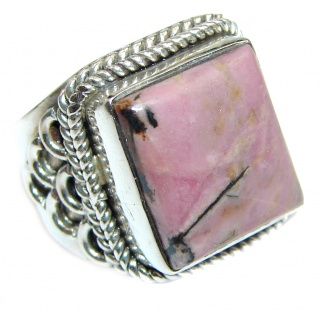 Perfect Rhodonite .925 Sterling Silver handmade Ring s. 8